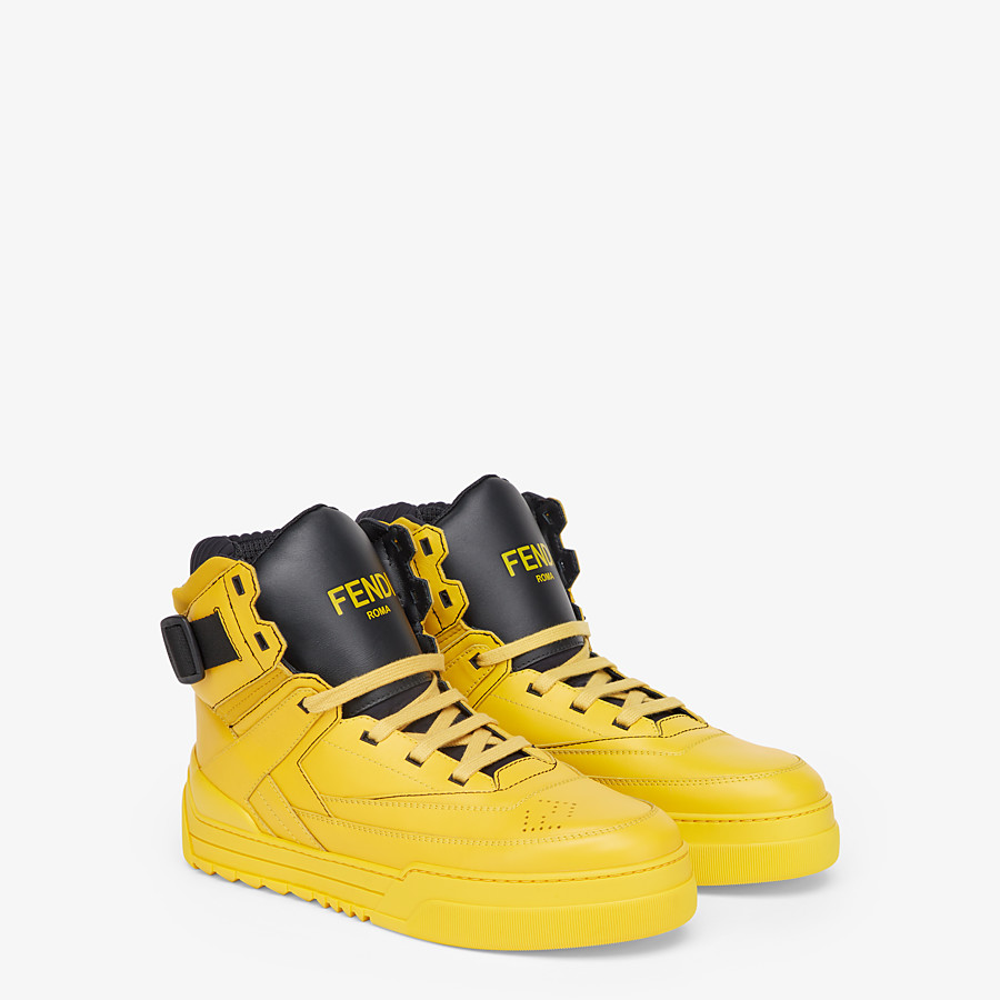 FENDI SNEAKERS - Yellow leather high-tops - view 4 detail