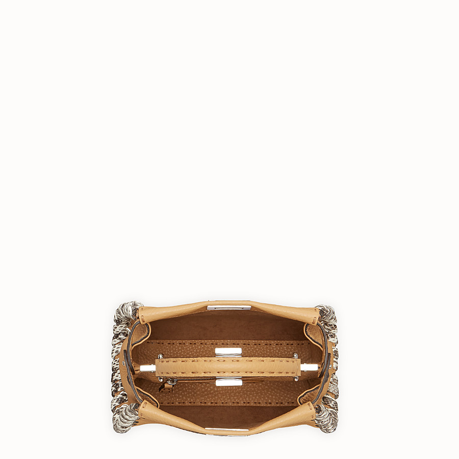 FENDI PEEKABOO MINI - Brown leather bag with exotic details - view 4 detail