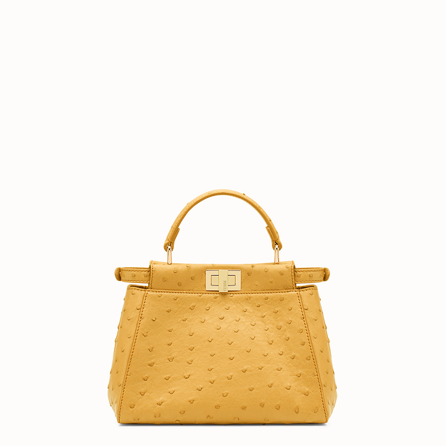 FENDI PEEKABOO MINI - Yellow ostrich leather handbag. - view 3 detail