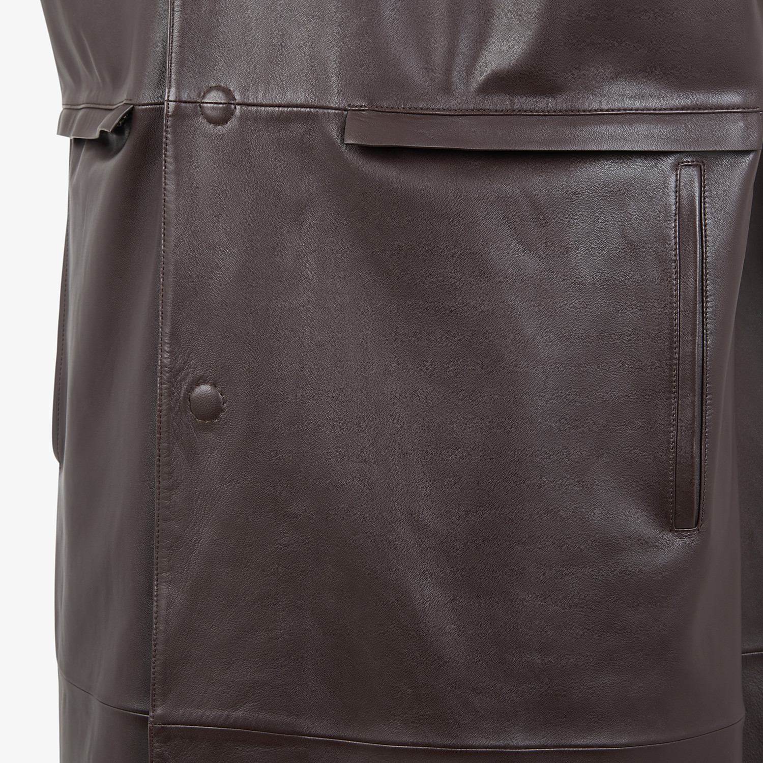 FENDI TRENCH COAT - Brown leather vest - view 4 detail