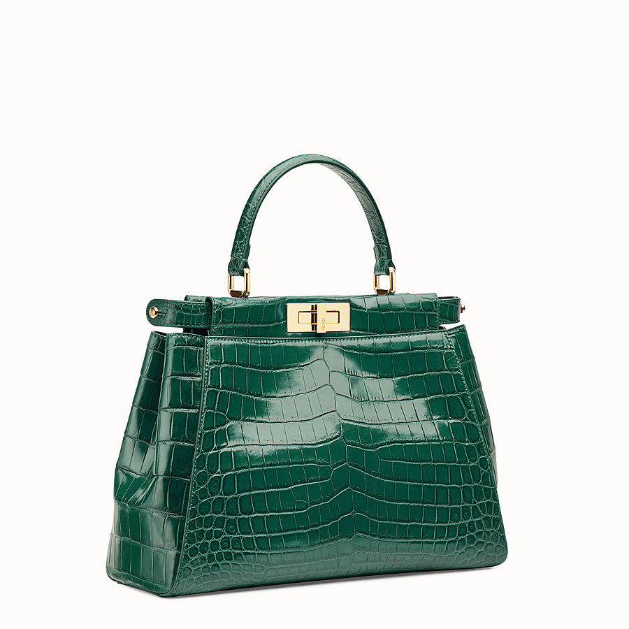FENDI PEEKABOO REGULAR - Emerald green crocodile leather handbag. - view 2 detail