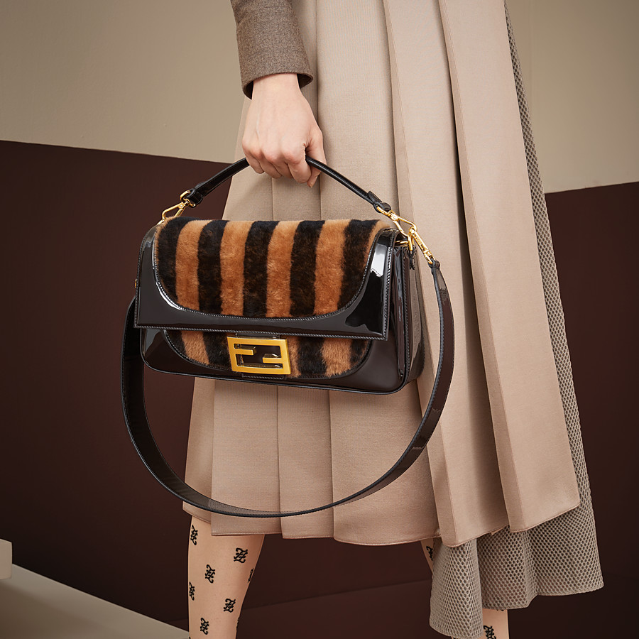 FENDI BAGUETTE LARGE - Multicolor, patent leather and sheepskin bag - view 2 detail