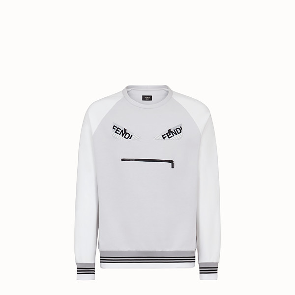 FENDI SWEATSHIRT - White cotton jersey sweatshirt - view 1 small thumbnail