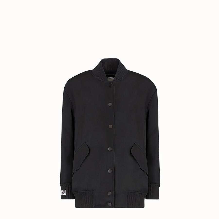 FENDI JACKET - Black satin bomber jacket - view 1 detail
