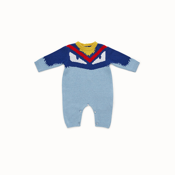 FENDI PLAYSUIT - Baby boy's sky blue wool blend playsuit - view 1 small thumbnail