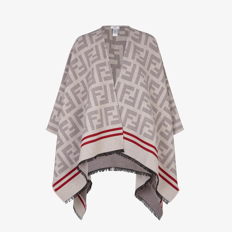 FENDI PONCHO FF - Poncho in lana e seta beige - vista 1 dettaglio