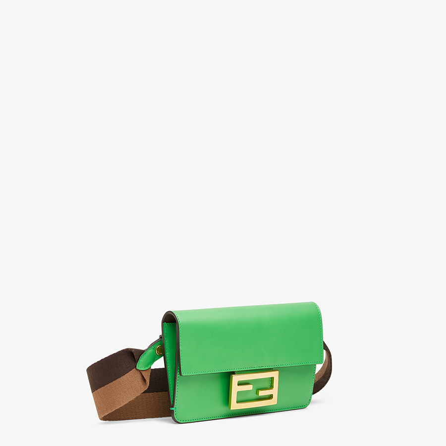FENDI FLAT BAGUETTE - Green leather mini bag - view 3 detail