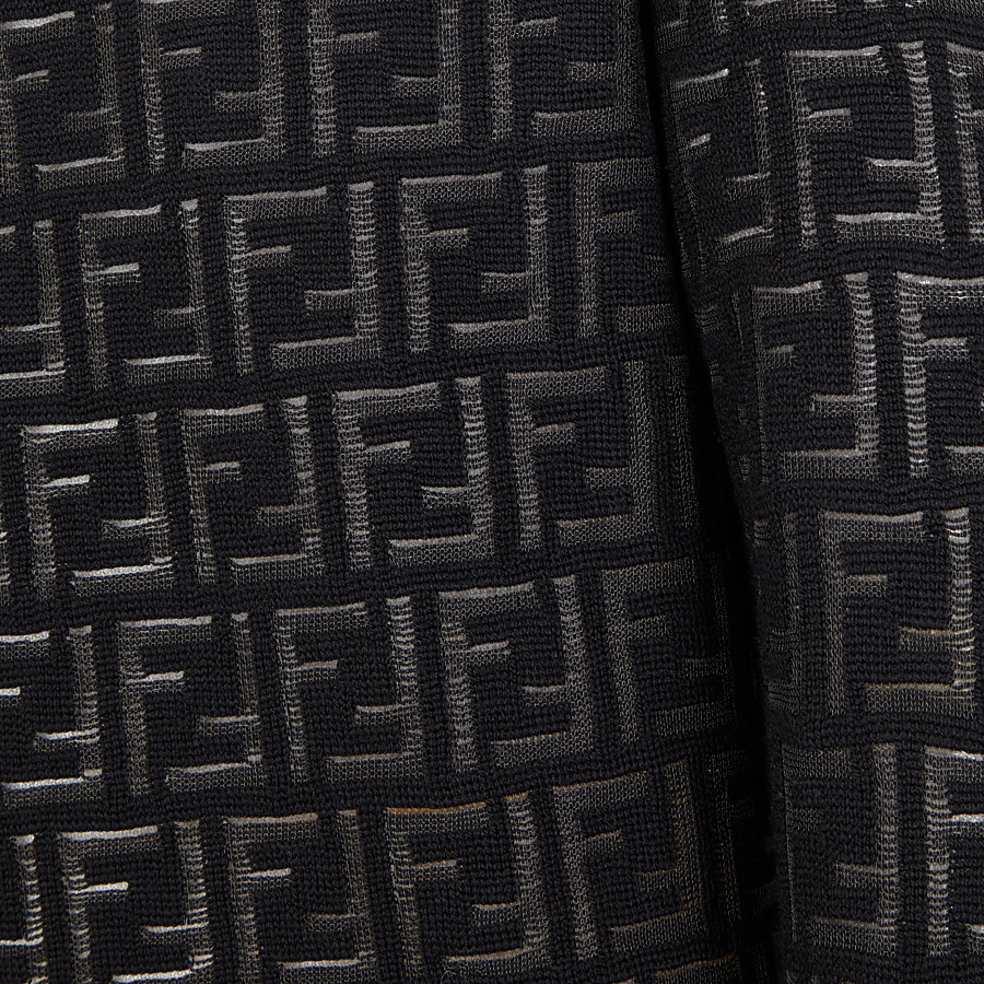 FENDI PULLOVER - Jumper in black nylon and wool - view 3 detail