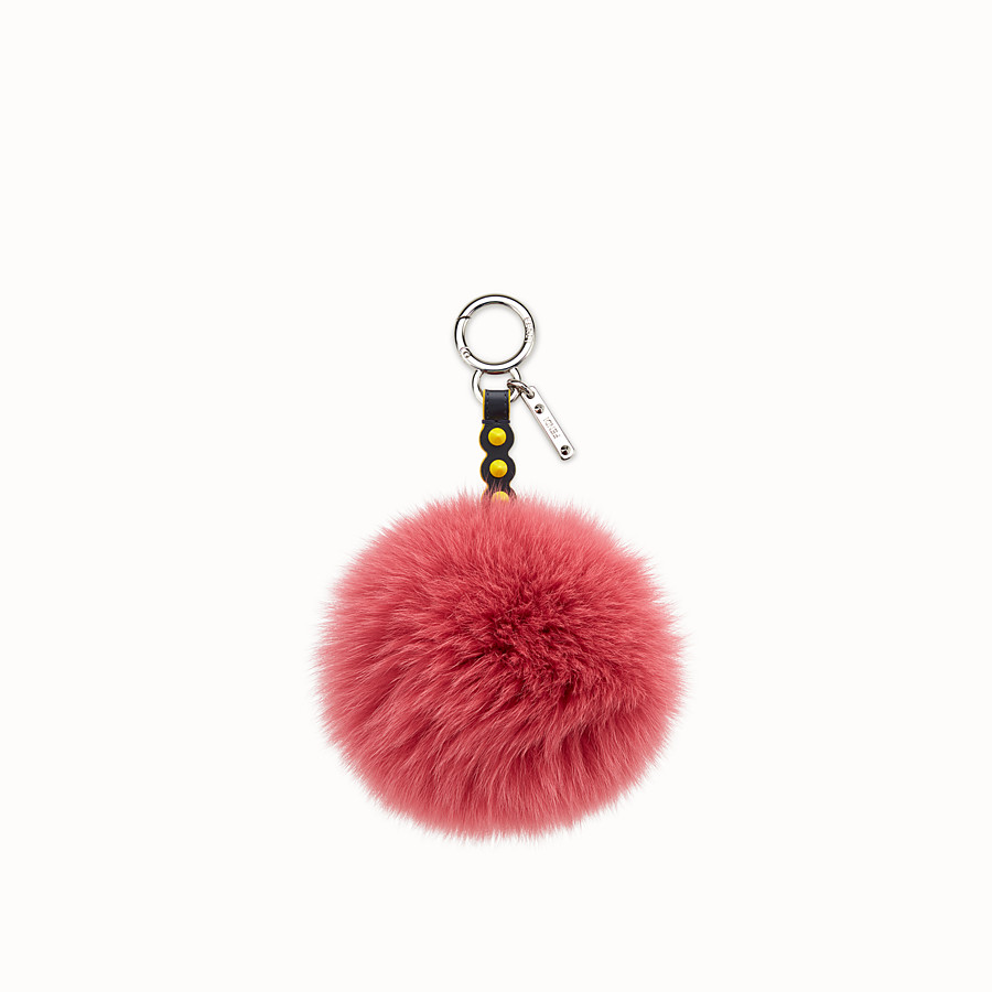 FENDI POMPOM CHARM - Charm in pink fox fur - view 1 detail