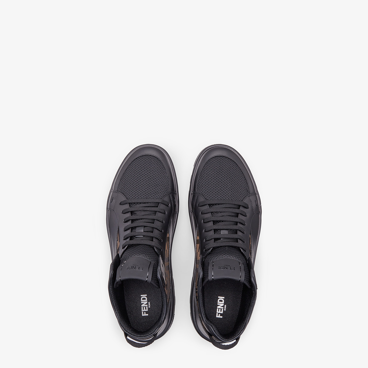 FENDI SNEAKERS - Black leather mid-top - view 4 detail