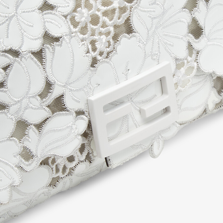 FENDI BAGUETTE - Embroidered white patent leather bag - view 6 detail