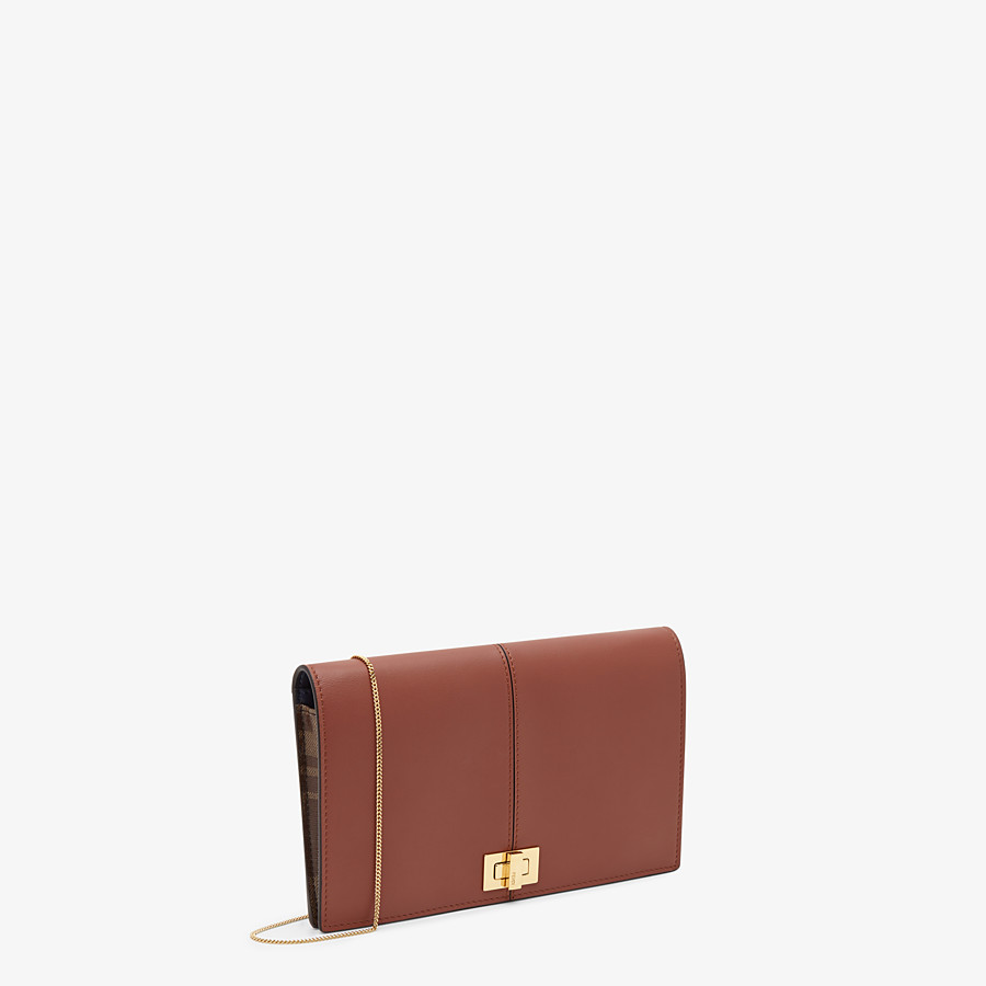 FENDI WALLET ON CHAIN - Brown leather mini-bag - view 2 detail