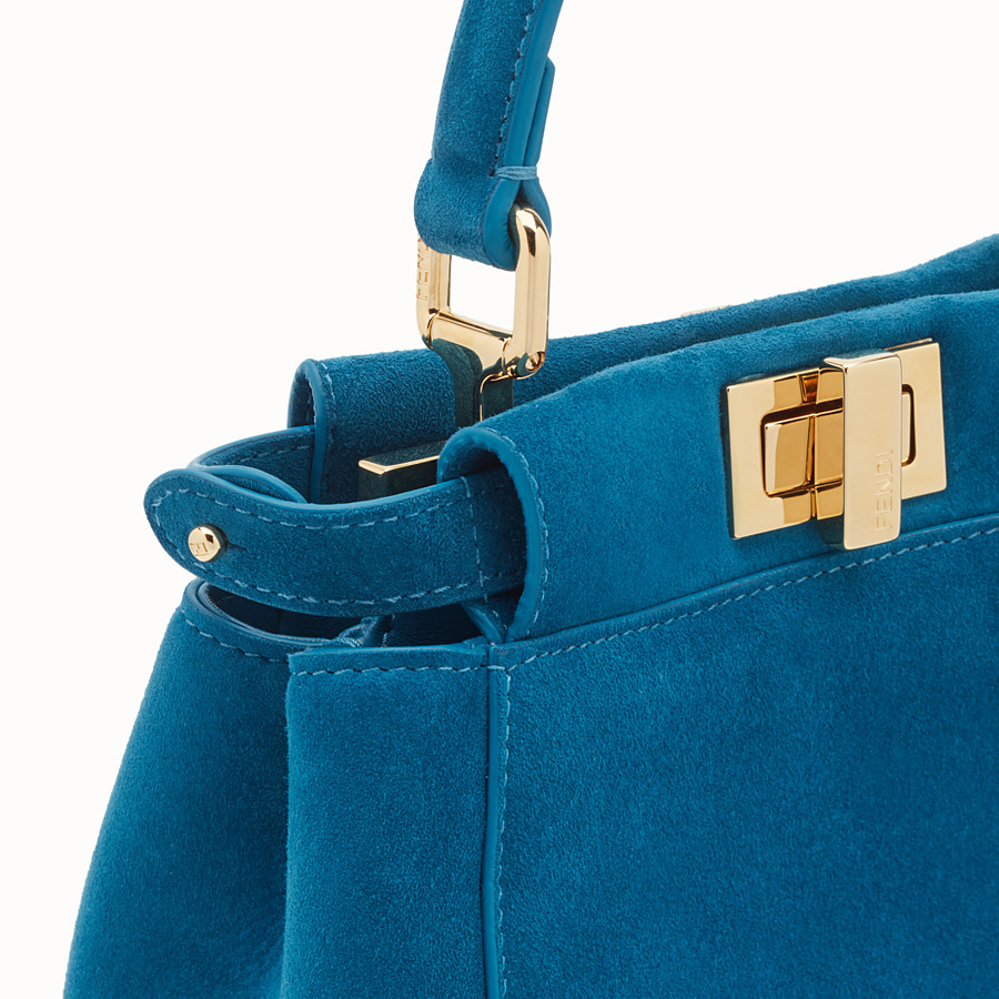 FENDI PEEKABOO ICONIC XS - Blue suede mini bag - view 6 detail