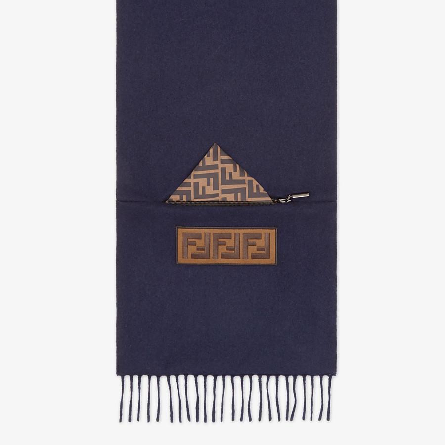 FENDI SCARF - Blue wool scarf - view 1 detail