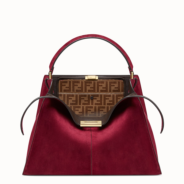 FENDI PEEKABOO X-LITE LARGE - Fuchsia coloured suede bag - view 1 small thumbnail