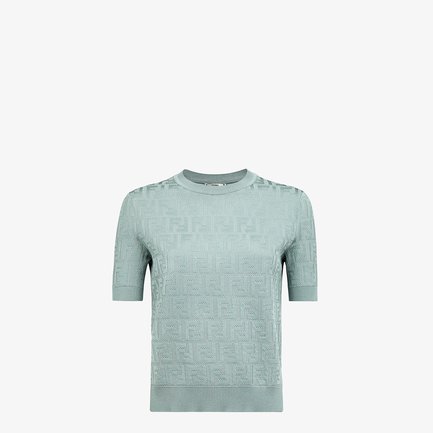 FENDI SWEATER - Light blue cotton and viscose sweater - view 1 detail