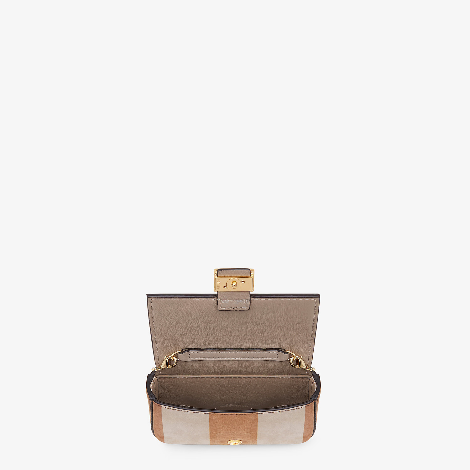 FENDI NANO BAGUETTE - Beige nubuck leather charm - view 5 detail