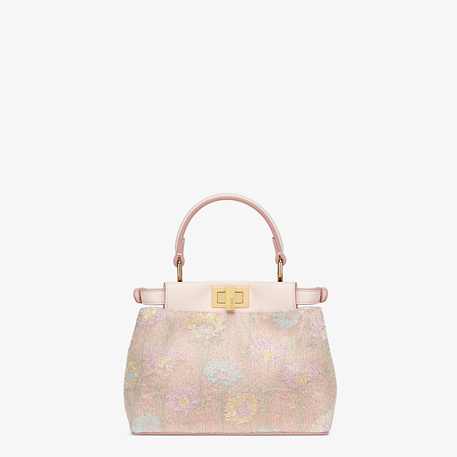 FENDI PEEKABOO ICONIC XS - Mini bag with pink embroidery decoration - view 4 detail