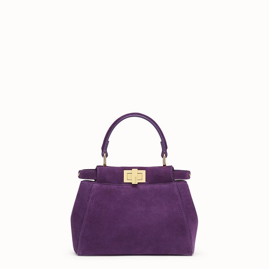 FENDI PEEKABOO ICONIC XS - Purple suede mini-bag - view 1 detail