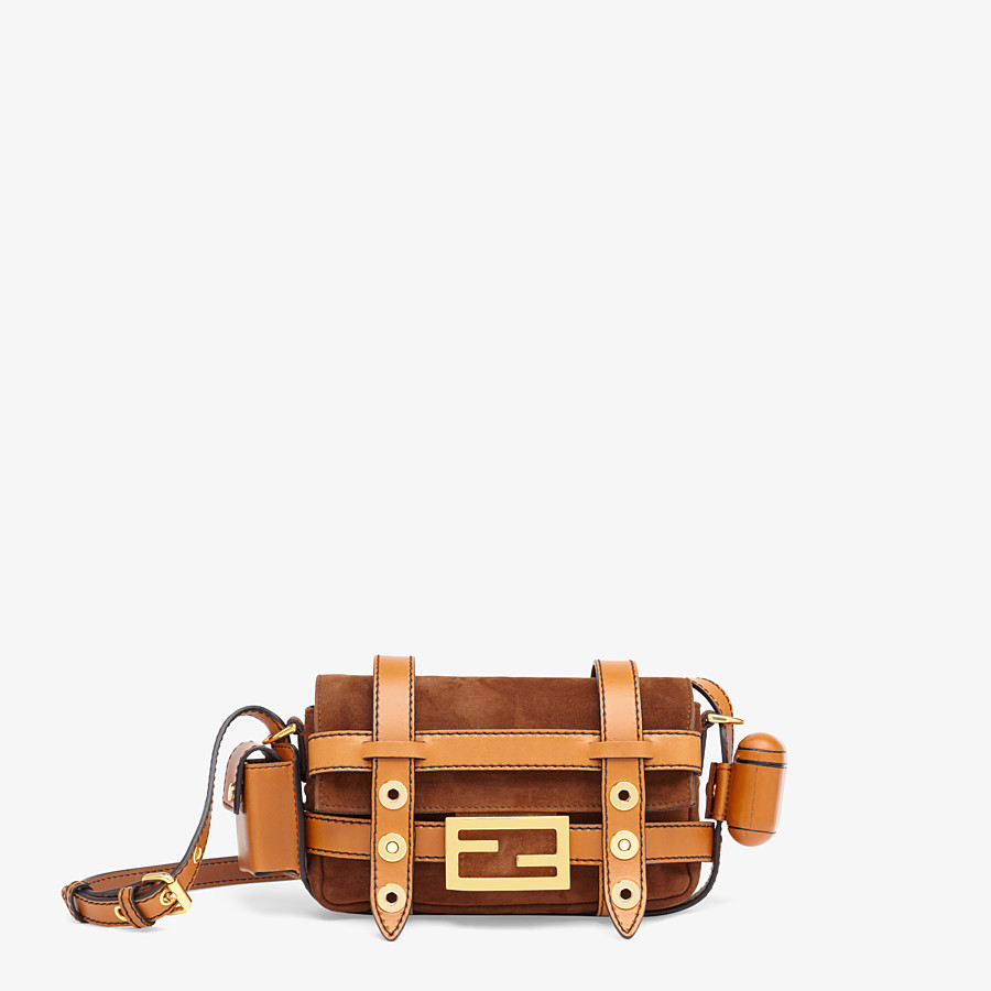 FENDI BAGUETTE MINI CAGE - Brown suede and leather bag - view 1 detail
