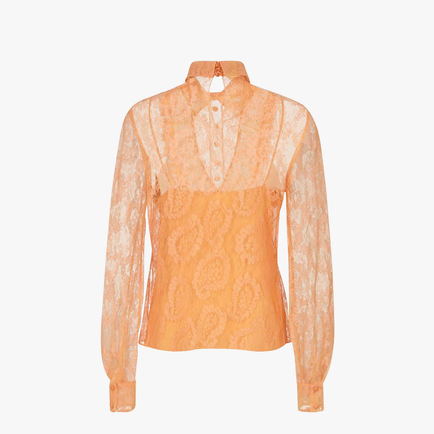FENDI SHIRT - Orange lace blouse - view 2 detail