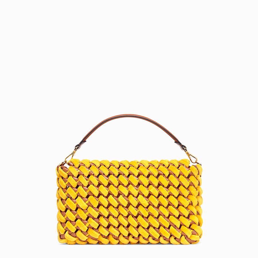 FENDI BAGUETTE LARGE - Yellow mink and nappa leather bag - view 4 detail