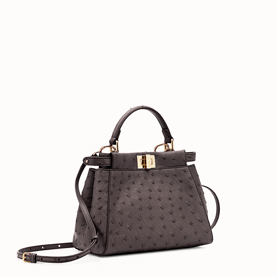 FENDI PEEKABOO MINI - Brown ostrich leather handbag. - view 2 detail