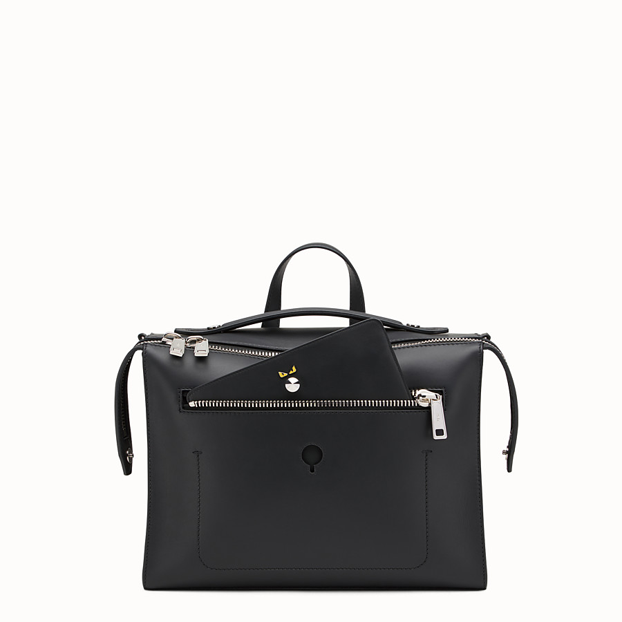 FENDI MESSENGER - Black leather shoulder bag - view 1 detail