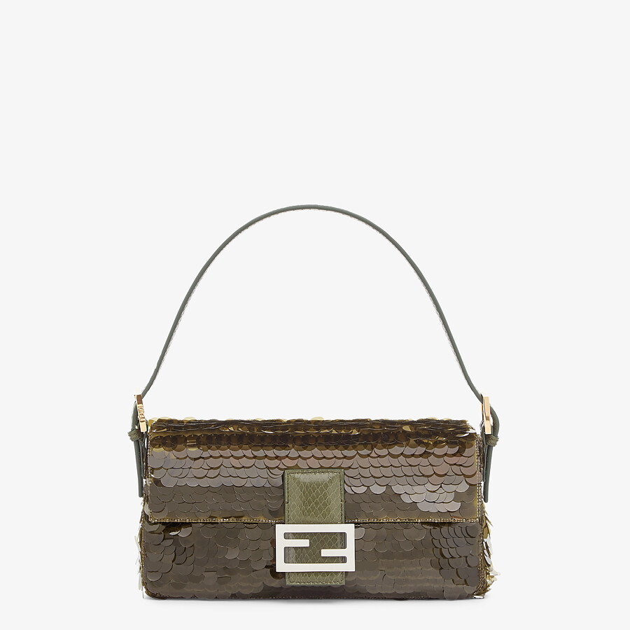 FENDI BAGUETTE 1997 - Green satin bag with sequins - view 1 detail