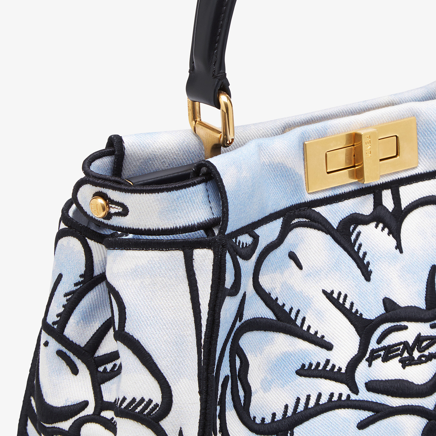 FENDI PEEKABOO ICONIC MEDIUM - Light blue denim and floral embroidery bag - view 6 detail