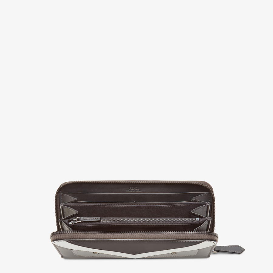 FENDI WALLET - Zip-around wallet in grey leather with insert - view 3 detail