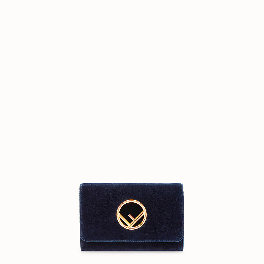 FENDI WALLET ON CHAIN - Blue velvet mini-bag - view 1 detail