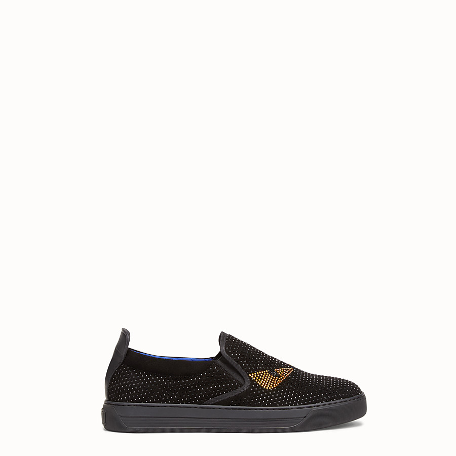 FENDI SNEAKER - Black suede slip-ons with inserts - view 1 detail