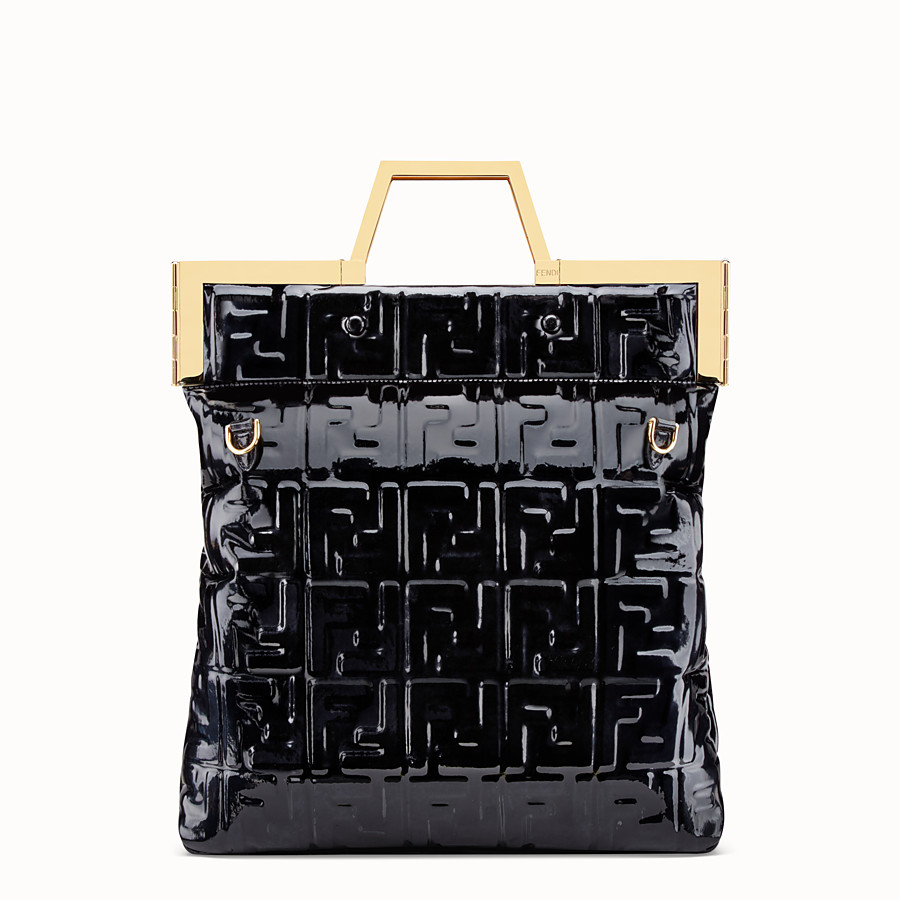 FENDI FLAT SHOPPING BAG MEDIUM - Black vinyl shopper bag - view 5 detail