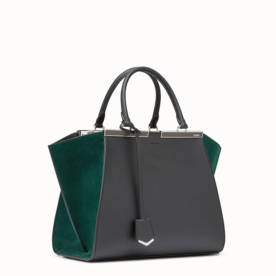 FENDI 3JOURS - Black and green leather shopper bag - view 2 detail