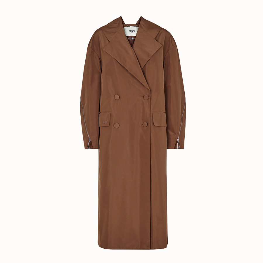 FENDI OVERCOAT - Brown faille trench coat - view 1 detail