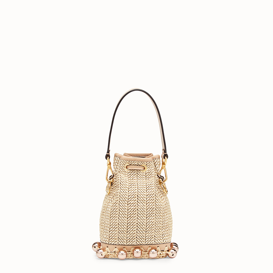 FENDI MON TRESOR - Raffia and beige leather mini-bag - view 3 detail