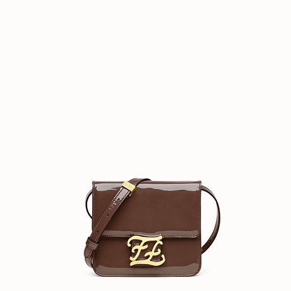 FENDI KARLIGRAPHY BAG - Brown patent leather bag - view 1 small thumbnail