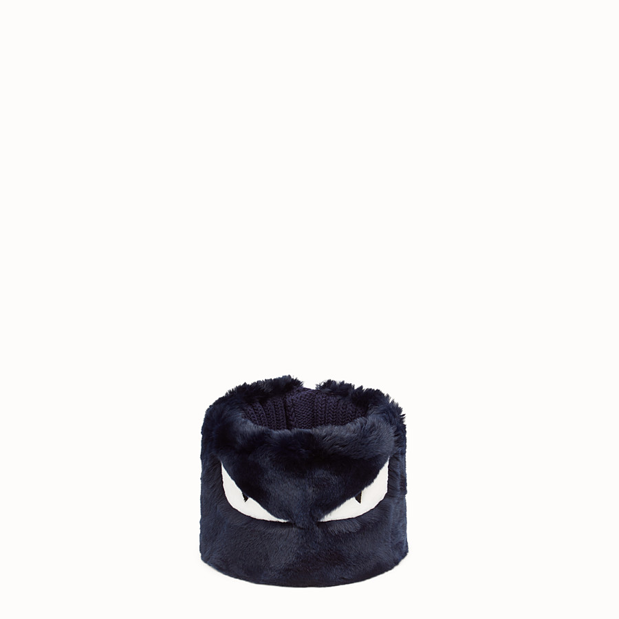 FENDI COLLAR - in blue fur and wool - view 1 detail