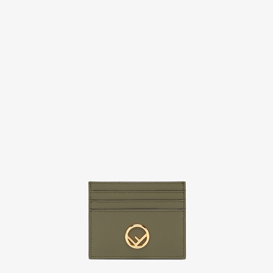 FENDI CARD CASE - Green leather flat card holder - view 1 detail