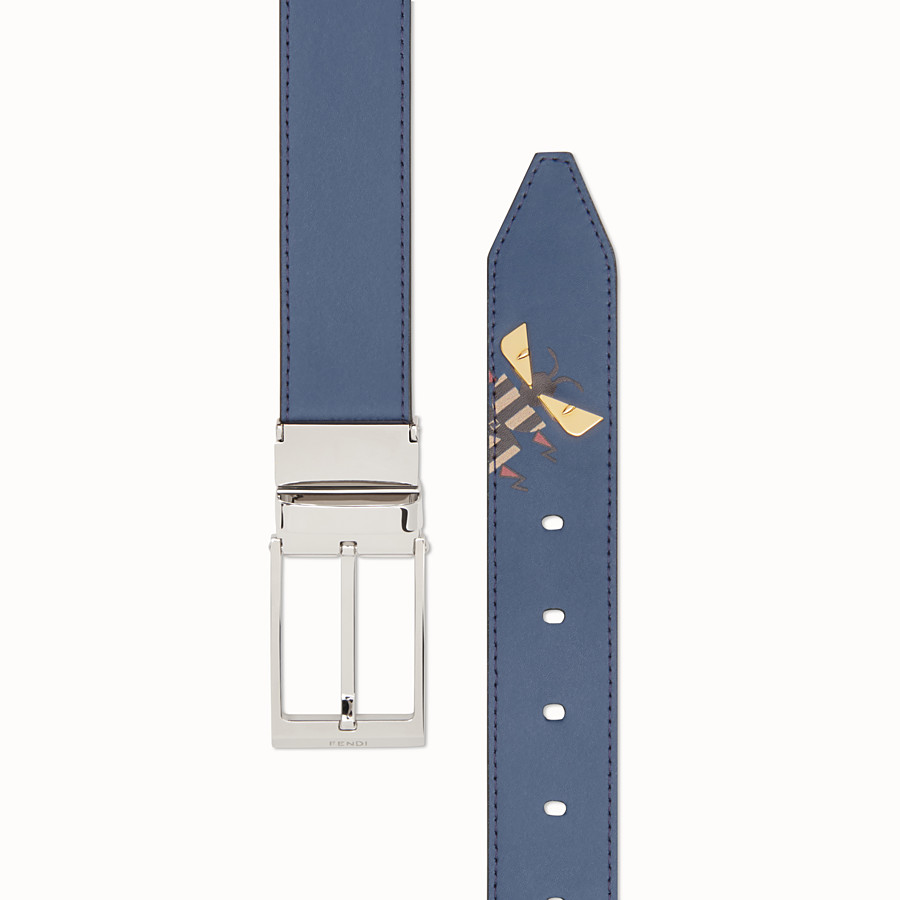 FENDI BELT - Dark blue and black leather belt - view 2 detail