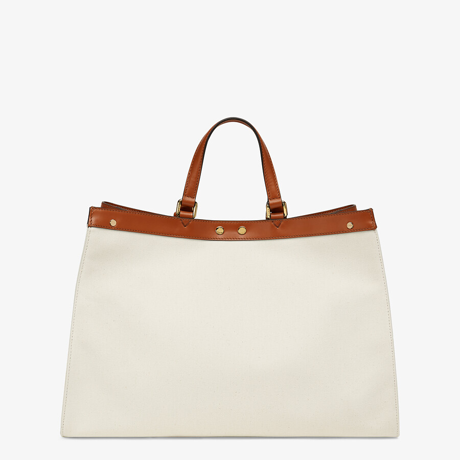 FENDI PEEKABOO X-TOTE - White canvas bag - view 4 detail