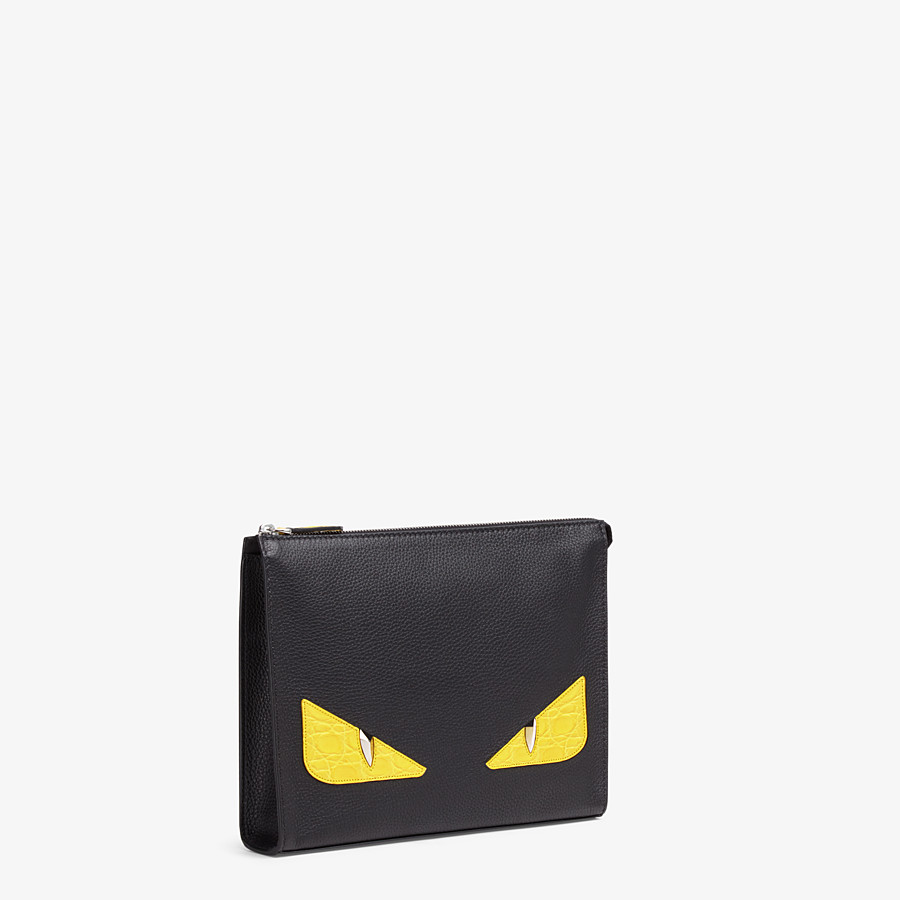 FENDI CLUTCH - Black leather slim pouch - view 2 detail