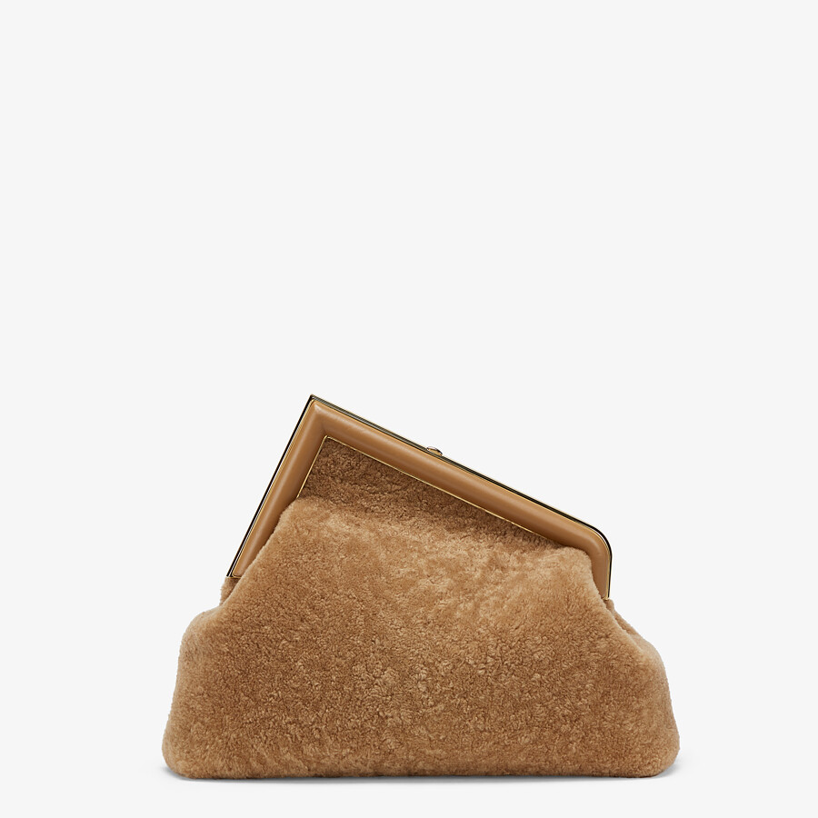 FENDI FENDI FIRST MEDIUM - Beige sheepskin bag - view 4 detail