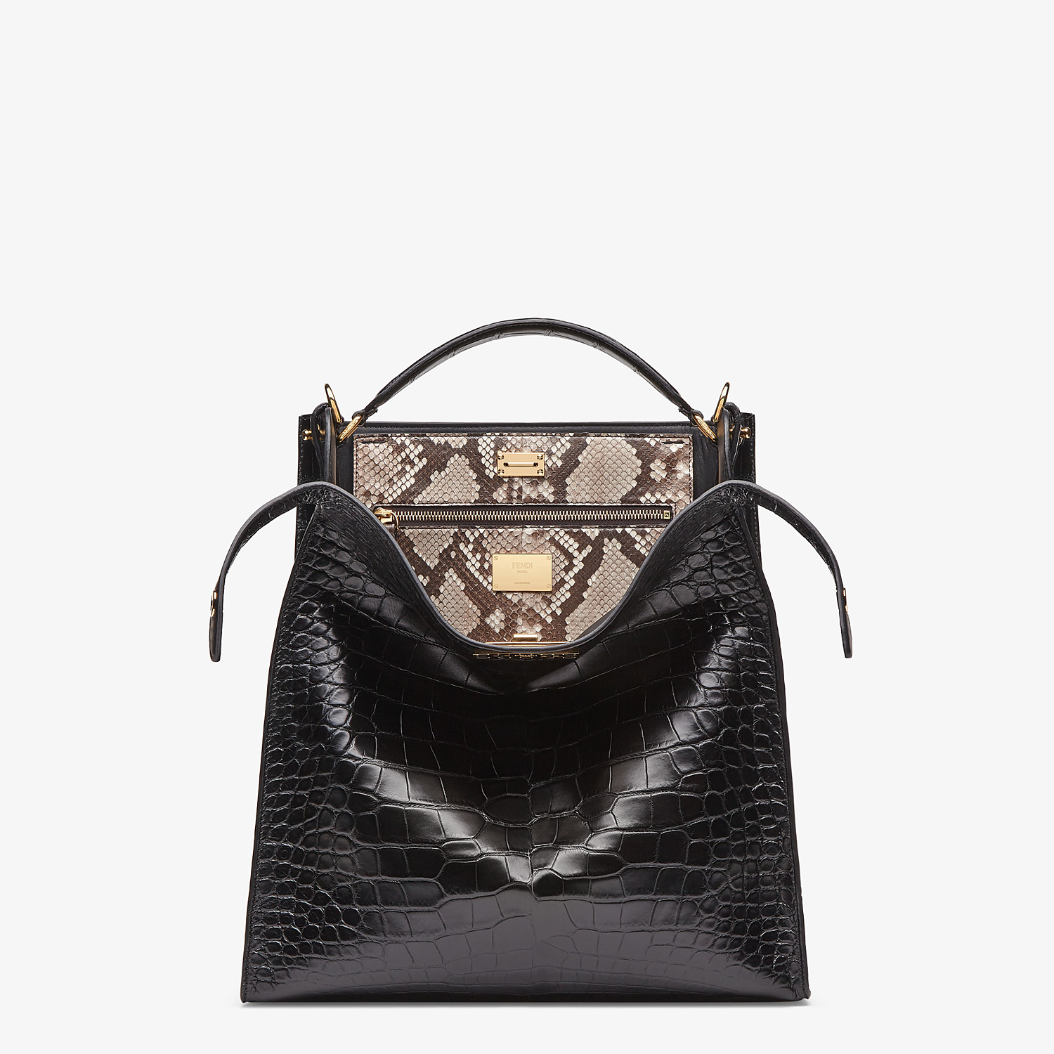 FENDI PEEKABOO X-LITE FIT - Black alligator leather bag - view 1 detail
