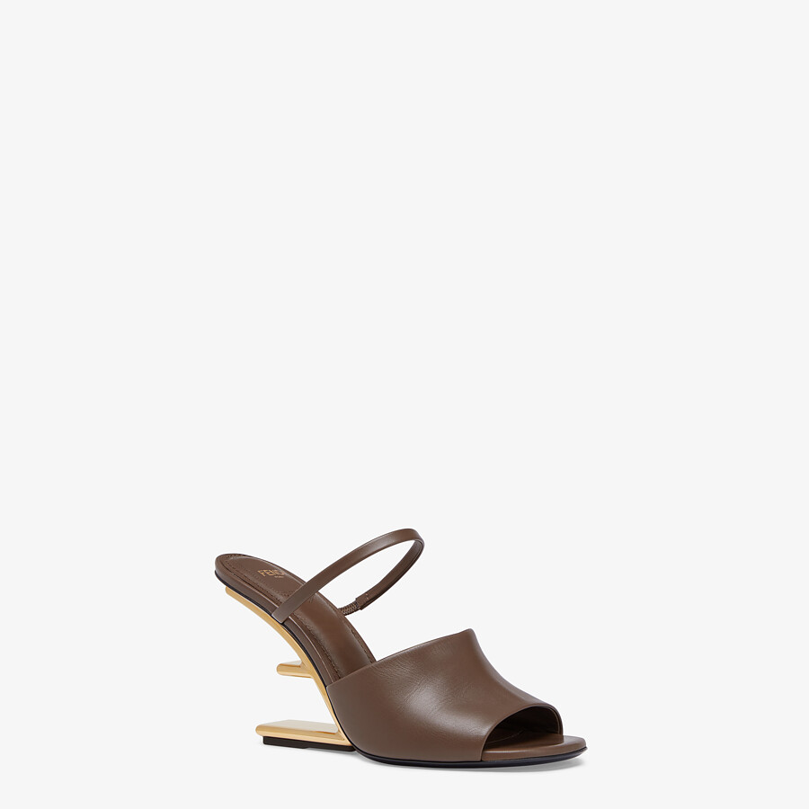 FENDI FENDI FIRST - Brown leather high-heeled sandals - view 2 detail