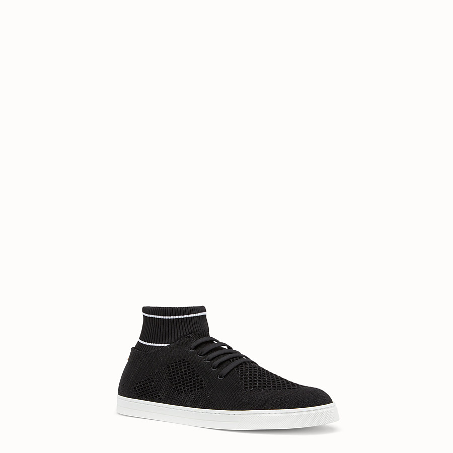 FENDI SNEAKERS - Black knit slip-ons - view 2 detail