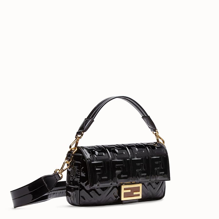 FENDI BAGUETTE - Black vinyl bag - view 3 detail