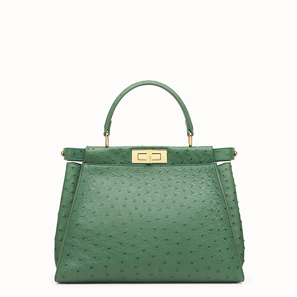 FENDI PEEKABOO REGULAR - Emerald green ostrich leather handbag. - view 1 small thumbnail