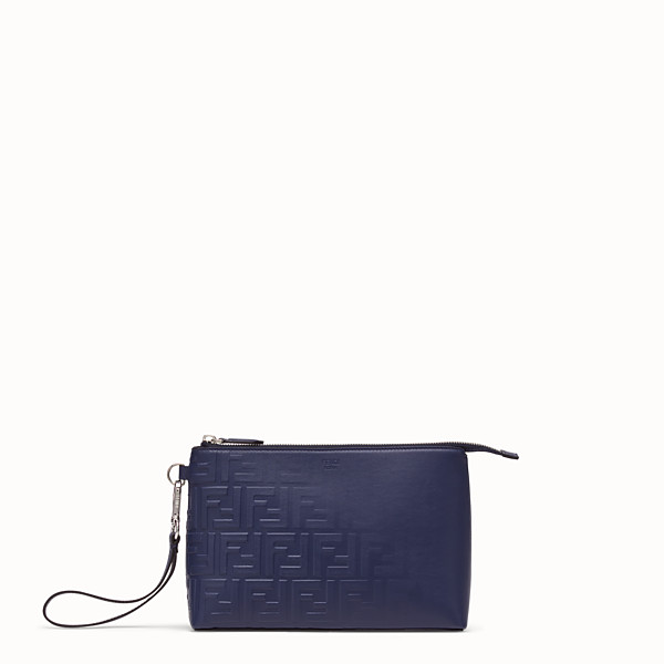FENDI POUCH - Blue calf leather pochette - view 1 small thumbnail